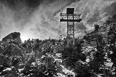 Palm Springs Mount Jacinto aerial tramway (garylestrangephotography) Tags: california winter vacation sky usa cloud white mountain holiday snow black tree rock grey palmsprings peak roadtrip aerial coachellavalley tramway sanjacinto wintersun garylestrangephotography