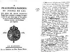 Portada i manuscrit de la Pragmàtica – Sanció del 19 de setembre de 1783.
