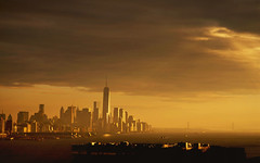 Shining City (michaelelliottnyc) Tags: city nyc newyorkcity bridge light sky sun sunshine skyline clouds buildings river manhattan