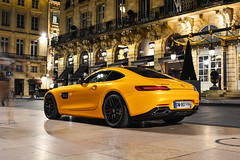 Fifty Shades of Yellow (2KP) Tags: auto france cars car night square de mercedes la place bordeaux mercedesbenz autos gt nuit supercar v8 amg supercars gts 2015 aquitaine comdie gironde mercedesamg
