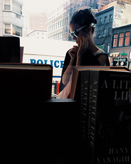 one of those days. (belle.fleur) Tags: nyc woman strand glasses glamour manhattan books outsidethewindow universityplace oneofthosedays lowermanhttan alidajolie strandlibrary july2016