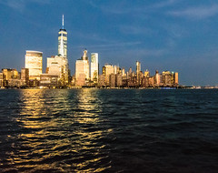 Lower Manhattan, July sunset (AdamHGrimes) Tags: newyorkcity sunset urban architecture us newjersey jerseycity unitedstates manhattan