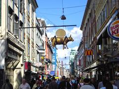 Stroget (Shopping Street) (lukedrich_photography) Tags: sony dscw55 sonydscw55 history culture denmark danmark kingdomofdenmark scandinavia europe european euro europa европа 欧洲 ヨーロッパ 유럽 أوروبا northerneurope الدنمارك 丹麦 danemark dänemark デンマーク 덴마크 дания dinamarca hdr copenhagen كوبنهاغن 哥本哈根 københavn copenhague コペンハーゲン 코펜하겐 копенгаген radhuspladsen stroget restaurant cityhallsquare square pedestrian shopping entertainment food district mcdonalds burgerking people outdoor architecture building cow hanging footlocker esprit nordic danish