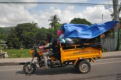 Blue flag (jeangrgoire_marin) Tags: road blue people orange traffic tricycle