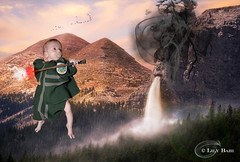 Magic battle (Lily Bahi) Tags: harrypotter baby newborn magic magie nouveaun bb serpentard slytherin green vert scape landscape paysage cascade waterfall baguette magique wand levitation lvitation blond pacifier ttine sucette nikon d5100