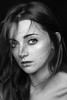 her eyes (kinga.pietrzak) Tags: eyes hair freckles wind clavicles portrait black white bw light natural girl