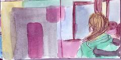 ob sie durch die Tre gehen sollte und wohin wrde es sie fhren (raumoberbayern) Tags: sketchbook skizzenbuch tram munich mnchen bus strasenbahn herbst winter fall pencil bleistift paper papier robbbilder stadt city landschaft landscape