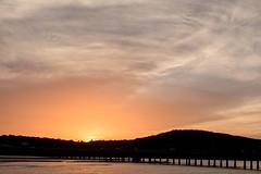 Oklahoma Sunset (brev99) Tags: bridge sunset silhouette clouds hills tulsa arkansasriver colorefex d7100 sigma1770os cacorrection viewnx2