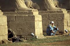 gypten 1999 (265) Tempel von Luxor: Sphingen-Allee (Rdiger Stehn) Tags: menschen leute afrika gypten egypt nordafrika 1999 winter urlaub dia analogfilm scan slide 1990er 1990s obergypten sdgypten aad diapositivfilm analog kbfilm kleinbild canoscan8800f canoneos500n 35mm luxor misr  tempelanlage historischesbauwerk altgypten archologie archologischefundsttte altertum antike tempelvonluxor luxortempel tempel sakralbau bauwerk unescowelterbe welterbe unescoweltkulturerbe weltkulturerbe gyptologie sphinx sphinxallee statue sphingenallee