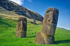 Hillside Bros (Rice Bear) Tags: chile travel sky stone island statues adventure hillside moai easterisland quarry cl rapanui isladepascua hangaroa ranoraraku regindevalparaso