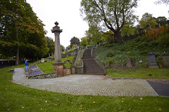 Glasgow Necropolis Old and New Stones (10) (dddoc1965) Tags: dddoc davidcameronpaisleyphotographer glasgow cathedral necropolis landmark scotland october 7th 2016 cloudy precinct autumn yellow trees windows ceiling stone arcitech flags kenny game thrones jewish remembrance