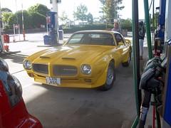 Pontiac Firebird (occama) Tags: lxn455 pontiac firebird yellow old car cornwall uk usa american muscle petrol gas filling station garage 1972