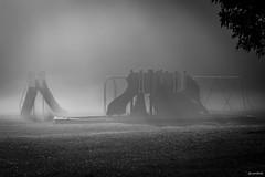 Dreaming (swmartz) Tags: outdoors nikon newjersey playground school mist fog sunrise bw dreaming
