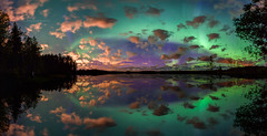 Aurora Photographer (M.T.L Photography) Tags: auroraphotographer mtlphotography mikkoleinonencom auroraborealis northernlights lake water mirror autumn photographer colors trees sky stars clouds panoramicphotography