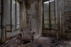 Did you ever sit quietly with your back straight, not moving.. only cherishing the beauty of silence? I just did... (Kristel van de Laar Photography) Tags: abandoned decay beauty beautiful urbex france broken couch indoor window photography chateau