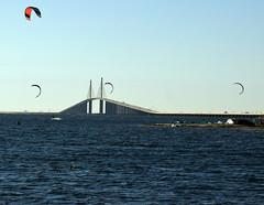 Kite surfing near Skyway Bridge in St. Petersburg (2) (Carlosbrknews) Tags: kitesurfing stpetersburg skywaybridge tampa bay florida