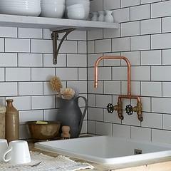 Parisian Kitchen (Heath & the B.L.T. boys) Tags: kitchen tile sink rustic pipes pitcher shelves porcelain