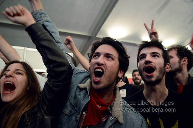 Syriza supporters in Athens celebrate historic win