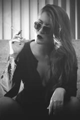 Smoking problems (@giofrasca) Tags: light portrait woman white black blanco luz girl beauty fashion stairs canon dark hair lens rebel 50mm mujer model women italia ray chica retrato venezuela smoke femme negro moda bad cigar modelo smoking bella mm panama 50 ban fumar ritratto mala lentes belleza escaleras rayban xsi cigarro cigarrillo fumando iluminación strobist