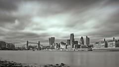 London City Skyline (Ian Rowan 01) Tags: city bridge bw london tower thames canon river long exposure cityscape 5d gherkin markii