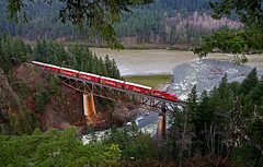 Crossing the Nahatlatch River (elevation-media) Tags: holiday train river pacific sub rail railway canadian canyon fraser cp thompson nahatlatch