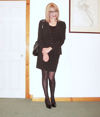 Out of office (Starrynowhere) Tags: black glasses office emma tights crossdressing tgirl business suit tranny transvestite opaque pantyhose crossdresser nylons ballantyne transvestism crossdressed starrynowhere