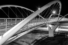 Heritage LRT Bridge (stevenbulman44) Tags: bridge winter blackandwhite calgary night canon nightshot structure alberta span lseries 1740f40l