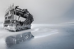Wreck of the Peter Iredale, Ft. Stevens, OR (gks18) Tags: ocean blackandwhite beach oregon canon coast boat ship shipwreck shore infrared wreck lightroom canon7d