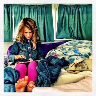 035/365 • caravan morning • #035_2015 #7yo #ipad #nofixedaddress #caravandwellers #slowstart #blues #latergram