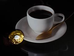 Ferrero Rocher & Coffee (fstop186) Tags: china white macro cup coffee night dark naked milk coconut chocolate top bare spoon olympus pro late luxury zuiko ferrero crunchy rocher hazelnut omd topping em1 unwrapped olympusm1240mmf28