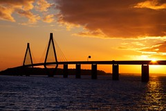 Last daylight at Faro Bridge (Threin Ottossen) Tags: bridge sunset sea sky seascape water skyline landscape denmark outdoor thebestyellow