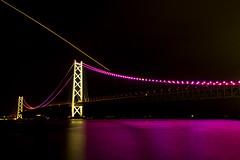 Akashi Kaikyo Bridge and Light Trace of SKYMARK (kimtetsu) Tags: bridge japan airplane nightshot aircraft aviation kobe     akashikaikyobridge    lighttrace