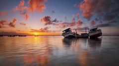 Tuban Beach (Farizun Amrod Saad) Tags: morning sea sky reflection beach nature sunrise canon indonesia landscape asian boat fisherman asia ray village sigma filter singh singhray tubanbeach