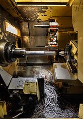 Paragon Machine - Lathe (bradwenner.com) Tags: bicycle metal shop work head tube machine made american workshop titanium cnc tool shavings lathe machinist headtube