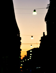 City Sunset (cuoghisofia) Tags: city sunset sky urban black colors contrast town soft tramonto skies cities cielo colori citt tenue contrasto llight sfumature
