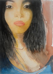Woman's face, by Ademar - DSC08978 (Dona Mincia) Tags: portrait woman art beauty face watercolor painting hair paper arte mulher study moa beleza cabelo jovem pintura rosto aquarelaretrato