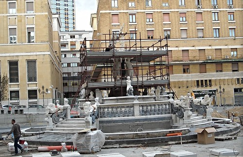 The fountain of Neptune (17th century) - Restoration and new placing at Piazza Municipio in Naples