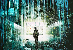 -winter tunnel (Hodaka Yamamoto) Tags: winter silhouette lomo lca xpro lomography crossprocessed xprocess doubleexposure crossprocess tunnel double lomolca multipleexposure crossprocessing icicle doubles multiexposure
