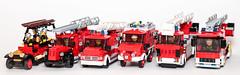 100 Years of Mercedes-Benz fire trucks (Galaktek) Tags: city red fire lego mercedesbenz minifig galaktek
