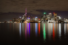 Jennifer Kateryna Koval's'kyj Park (A Great Capture) Tags: nighttime city night skyline reflection water light lights illuminated up brighten gold silver colored illumine sky cloud cluds overcast green red pink white purple torontophotographer luminescence h2o liquid aquatic aqua lake wsser   eau acqua woda ap voda agua vatten dark agreatcapture agc wwwagreatcapturecom adjm toronto on ontario canada canadian photographer ash2276 ashleylduffus ald mobilejay jamesmitchell downtown urban eos digital canon rebel spring springtime 2016 cntower cn tower building buildings colorful scenic ig