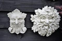 Comedy Duo (Carmel..) Tags: ornamentalfaces smiling sneer gardenornaments fun stone wood outdoor grey garden sneering comedy duo foxrock dublin ireland