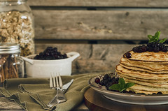 Blueberry Pancakes (flashfix) Tags: summer stilllife ontario canada utensils pancakes 50mm nikon napkin ottawa bowl plates jars blueberries mints foodphotography hss 2016 masonjars sweetsunday d7000 happysweetsunday 2016inphotos july102016