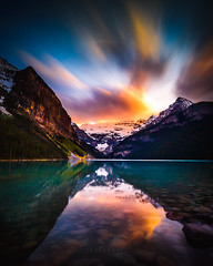 sunset at lake louise (heyengel) Tags: adventure alberta alpine banff banffnationalpark blue canada canadianrockies emerald glacier hiking lake lakelouise louise mountain nature panorama park peaks reflection scenery sunset travel turquoise water