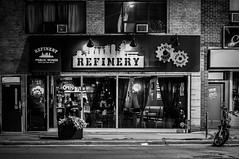 Refinery (SarahJKelleher) Tags: light shadow shadows refinery pub bar restaurant night noflash urban city etobicoke toronto ontario canada nikon nikond7200 nikon35mm 35mm lightroom street streetphotography streetphoto blacknwhite blackandwhite bnw bandw monochrome