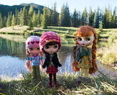 The girls go for a morning hike in the mountains