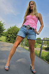 Missy 02 (The Booted Cat) Tags: sexy candid blonde girl demin jeans hotpants legs heels highheels