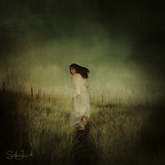Haunted (Sabine Jacobs Photography) Tags: fantasy fairytale fineart feminine run running haunted dress white landscape whimsical woman conceptual clouds surreal surrealism self sabinejacobs