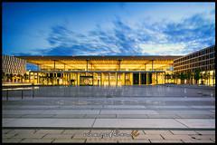 BER - Airport (Krueger_Martin) Tags: berlin brandenburg blue blau bluehour blauestunde airport ber architecture 24mm weitwinkel festbrennweite wideangle primelense hdr photomatix light lights licht langzeitbelichtung gelb yellow sky himmel clouds wolken willybrandtplatz