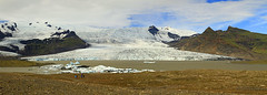 Fjallsrln Glacier Panoramic (Matt Champlin) Tags: jkulsrlnglaciallagoon fjallsrlnglacier fjallsrln glacial glacier ice icebergs towering amazing mountains iceland canon 2016 travel lagoon exotic cold chilly volcanic people huge scale vacation holiday nature outdoors