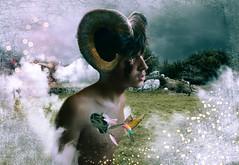 Horns (heyenrik) Tags: horns sheep bird hole nature clouds green cry bright nubes agujero negro pajaro cuernos paisaje portrait selfportrait self landscape photoshop canon eos 1200d comunidadespaola